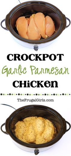 Crock Pot Garlic Parmesan Chicken Recipe from make dinner the highlight of your week with this ridiculously delicious Crockpot meal Perfect for nights when company is coming over too slowcooker recipes thefrugalgirls Crock Pot Food, Crockpot Dishes, Crock Pot Slow Cooker, Slow Cooker Recipes, Cooking Recipes, Crock Pots, Crock Pot Dinners, Easy Cooking, Low Carb Crockpot Recipes