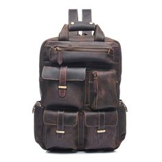 962d708a710ea SIMLINE Vintage Casual Genuine Cow Leather Crazy Horse Real Cowhide Men Mens  Travel Backpack Shoulder Bag Bags Backpacks For Man.