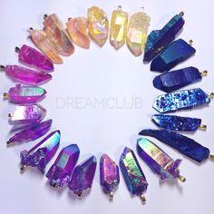 Rainbow Aura Quartz Crystal Pendants - dreamclub
