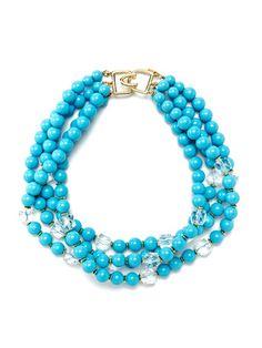 Kenneth Jay Lane Turquoise Bead Multi-Strand Necklace