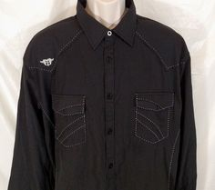 ROAR SIGNATURE Shirt Western Men Size 2XL Black White Stitch Long Slv Button Up #Roar #ButtonFront