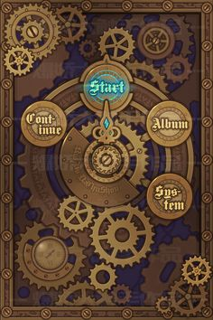 "原创作品:预告""蒸汽朋克""主题界面设计 ... Game Gui, Game Icon, Game Concept, Concept Art, Game Card Design, Steampunk Design, Steampunk Theme, Gui Interface, Tattoo Studio"