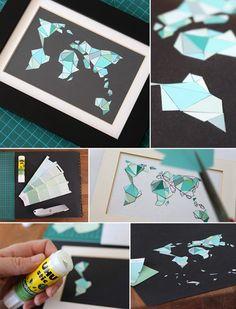 Mosaikweltkarte aus Farbkarten