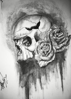 Skull and rose I done in charcoal, drawing, sketch, design, tattoo
