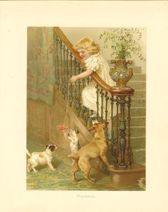 Victorian 1886 Ernest Nister Antique Childrens Print Blonde Haired Girl Leaning Over Stair Banister Playing With Dogs Vintage Book Plate by printsandpastimes on Etsy Victorian Stairs, Victorian Art, Vintage Cards, Vintage Images, Vintage Box, Painted Banister, Stair Banister, Decoupage, Ernest