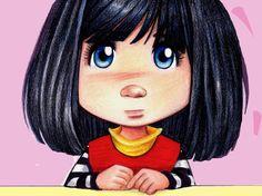 girl -illustration Illustration Girl, Girl Face, Big Eyes, Cute Art, Wall Art Decor, Creepy, Art Drawings, Whimsical, Character Design
