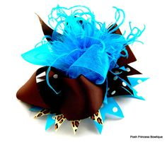 Hey, I found this really awesome Etsy listing at http://www.etsy.com/listing/106845744/over-the-top-hair-bow-teal-brown-over