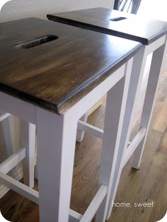 home, thrifty home: Customized IKEA Barstools Ikea Kitchen, Living Room Kitchen, Kitchen Reno, Kitchen Island, Kitchen Ideas, Ikea Barstools, White Stool, Bungalow Renovation, Home Board