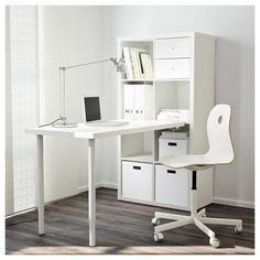 KALLAX Desk combination, white stained oak effect, white, cm. Pre-drilled holes for legs, for easy assembly. You can use the connection fitting to attach any non-glass table top in our range to a KALLAX shelf unit. Ikea Kallax Desk, Kallax Shelving Unit, Ikea Kallax Regal, Ikea Workstation, Ikea Shelves, White Shelves, Table Bureau Ikea, Table Desk, Small Room Design