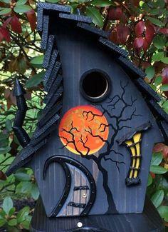"ArtisTree ""Blood Moon Witch"" Bird House - Know how - Bird House Feeder, Bird Feeders, Fairy Garden Houses, Garden Art, Nightmare Before Christmas, Tableau Pop Art, Moon Witch, Birdhouse Designs, Bird Houses Painted"