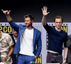 let me introduce my men, here he is, Tom Hiddleston—my fiance and Chris Hemsworth—his brother