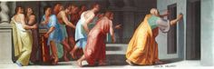 Zeno of Elea shows Youths the Doors to Truth and False (Veritas et Falsitas) by Pellegrino Tibaldi.  Zeno of Elea  (c. 490 – c. 430 BC) was a pre-Socratic Greek philosopher of Magna Graecia and a member of the Eleatic School founded by Parmenides. Aristotle called him the inventor of the dialectic. He is best known for his paradoxes.