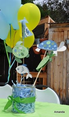 A family friend is having a baby and my mom and I volunteered to make the baby shower centerpieces. Since the mom to be is having a baby b...