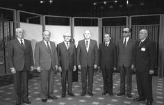 Eastern Bloc Leaders in 1987, left to right: Husák of Czechoslovakia, Zhivkov of Bulgaria, Honecker of East Germany, Gorbachev of the USSR, Ceaușescu of Romania, Jaruzelski of Poland, and Kádár of Hungary
