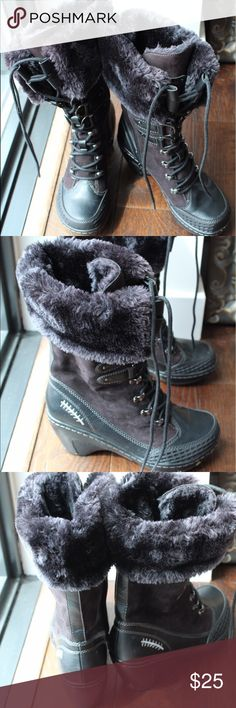 Jambu Black Vegan Leather, Faux Fur, Size 6 Lace-up to mid calf. Bought new in fall 2016, worn a handful of times. Very warm, waterproof. Price firm. No trades. Jambu Shoes Winter & Rain Boots