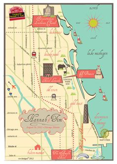 I like the icons used on this wedding map (if not the typography).  I also like the slightly antiqued colours.  From C W Designs, via Etsy.