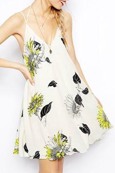 Flower Print Cami Backless Dress