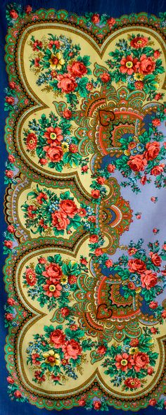 "Beautiful Russian shawl called ""Heart to Heart Conversation""."
