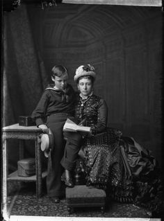 Princess Alice of the United Kingdom (Mother of Empress Alexandra and daughter of Queen Victoria), Grand Duchess of Hesse with her son Ernst Louis, Grand Duke of Hesse (1875).  Alice and her daughter Marie died three years later of diphtheria.
