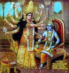 Krishna and Durga India Bengal 1940s gilt poster
