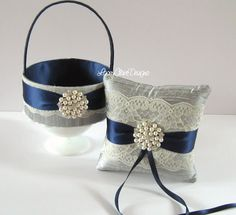 Items similar to Wedding Ring Pillow and Flower Girl Basket Set, Navy and Pewter Ring Pillow and Basket, Ring Bearer Pillow, Basket for Flower Girl, Custom on Etsy Ring Pillow Wedding, Wedding Pillows, Diy Cushion Covers, Swatch, Navy Ribbon, Card Box Wedding, Wedding Ideas, Lace Ring, Flower Girl Basket