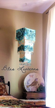 Lantern Light included.  Decadent Blue Lantern with crystals and sequin embroidery, Light Shade. Fits ANY pendant Light.