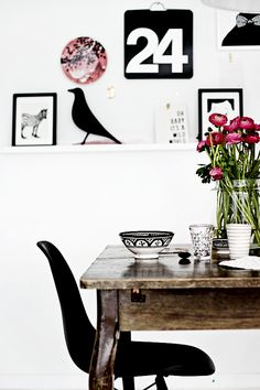 Dining in Rustic Black and White