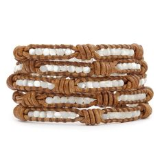 Chan Luu leather and MOP knot 5 wrap bracelet