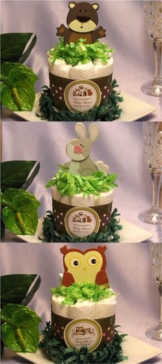 Image detail for -Baby Shower Woodland Forest Animals Diaper Cake Centerpiece