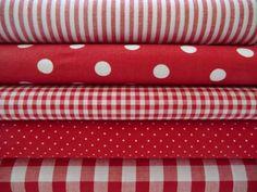 Stoffpakete - Set rot-weiß, 5 x 0,5m Vichy, Streifen u. Punkte - ein Designerstück von Mialana-Designs bei DaWanda
