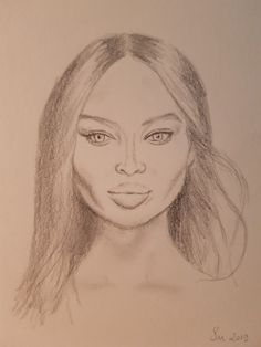 Pencil sketch Celebrity Drawings, Digital Portrait, Naomi Campbell, Pencil Drawings, My Arts, Sketch, Watercolor, Celebrities, Painting