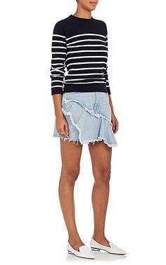 GRLFRND Giselle Ruffle Denim Miniskirt - Skirts - 505413139