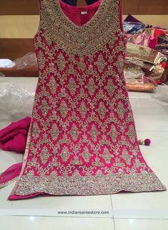 Pink Handwork Short Style Salwar Kameez Pakistani Dress Design, Pakistani Outfits, Indian Outfits, Pakistani Clothing, Shadi Dresses, Indian Dresses, Salwar Kameez, Patiala, Indian Attire