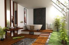 Casa de banho com estilo moderno, fazem encanto a decoração com ideias simples, como a escolha do mobiliário e a colocação de um jardim interno.