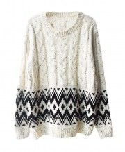 Diamond and Cable Knit Sweater with Vent Hem