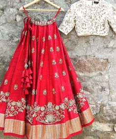 red colored partywear designer indian lehenga with similar embroidered white taffeta silk choli and a laced net dupatta in white color. Indian Fashion Dresses, Indian Gowns Dresses, Dress Indian Style, Indian Designer Outfits, Eid Dresses, Indian Wedding Outfits, Bridal Outfits, Indian Outfits, Eid Outfits