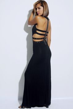 #clubwear21.com #dress #fashion black cut out cage bejeweled golden stud exposed zip back clubbing maxi dress-$62.00