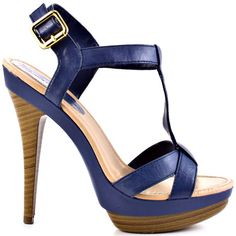 Navy sandal with wooden heel and platform