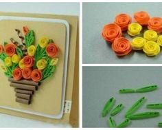 Открытка своими руками - букет цветов 11