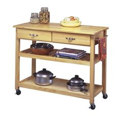 Home Styles Natural Finish Solid Wood Top Kitchen Cart.  Cheaper than home depot