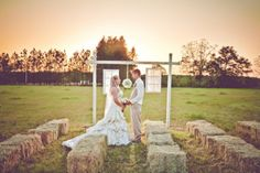 Country Wedding With Hay Bales