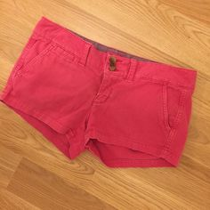 Pink American Eagle Shorts In great condition. Only thing is the tag says size zero but it fits like a 2. American Eagle Outfitters Shorts Jean Shorts