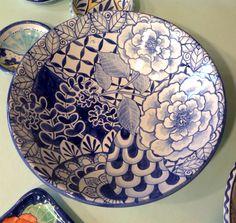 Damariscotta Pottery large serving bowl painted by Juliana Mais Pottery Plates, Ceramic Plates, Ceramic Pottery, Pottery Art, Painted Pottery, Pottery Painting, Ceramic Painting, Ceramic Art, Keramik Design