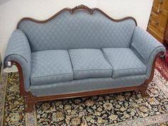 Antique Mahogany Victorian Goose Neck Swan Neck Sofa