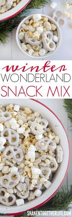 Winter Wonderland Snack Mix is the perfect sweet and salty mix of white fudge pretzels, mini marshmallows, yogurt covered cranberries, kettle corn and white chocolate chips!