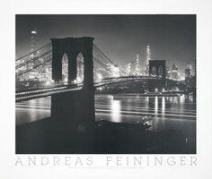 Feininger- The Brooklyn Bridge at Night, New York (1948)