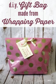 This is AWESOME! Come learn how to make a gift bag from wrapping paper. Perfect for wrapping oddly shaped items! Full tutorial from Designer Trapped in a Lawyer's Body.