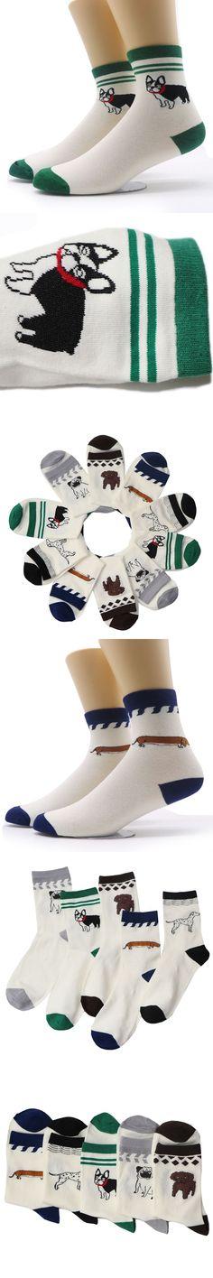 1pair Novelty Animals Cute Socks Comfortable Men Socks Husky Pugs 5 Style Faithful Dog Embroidery Funny Socks Male Sokken Meias #sockscute