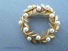Vintage Wreath brooch golden pearls 1960s jewelry Everyone had to have a circle pin!