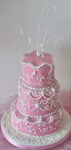 pink cake, wedding or celebration, love the delicate decorating